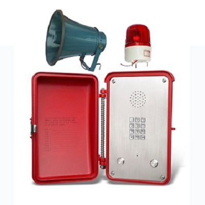 red industrial phone with loudspeaker and beacon