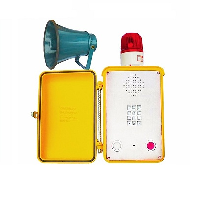 yellow industrial phone with loudspeaker and beacon